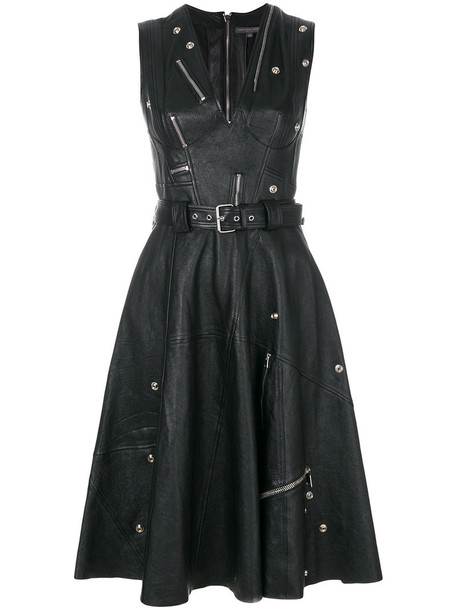 Alexander Mcqueen dress zip women leather black silk