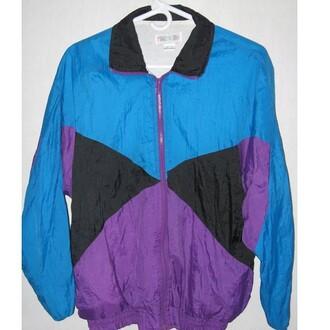jacket windbreaker blue purple dope 90s jacket 90s style 90sgrunge streetwear streetstyle style dope shirt
