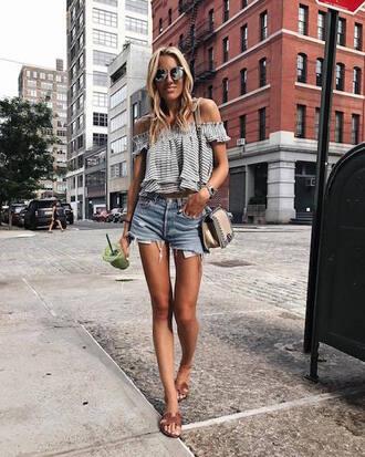 le fashion image blogger blouse top shorts off the shoulder top chanel bag denim shorts sandals summer outfits