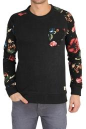 sweater,black sweater print,flower printed chest pocket,soms,flower printed sleeves,floral,menswear,mens sweater,long sleeves,jacket,black with floral print