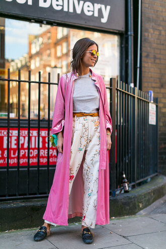 coat london fashion week 2017 fashion week 2017 fashion week streetstyle pink coat long coat pants floral floral pants top grey top shoes loafers black loafers gucci gucci shoes gucci princetown sunglasses yellow sunglasses