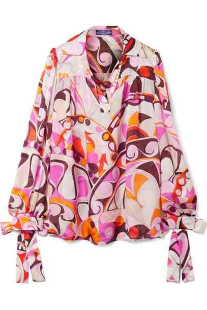 Emilio Pucci blouse chiffon blouse chiffon silk pink top
