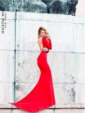 dress,red,gown,backless,formal,prom,evening outfits,long sleeves,beaded,wedding,pageant,2014,designer,celebrity