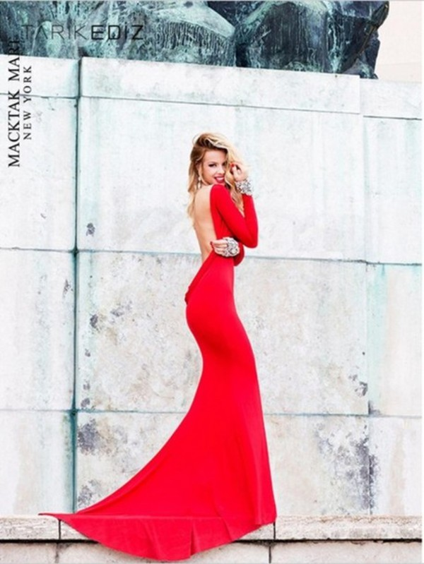 dress red gown backless formal prom evening outfits long sleeves beaded wedding pageant 2014 designer celebrity