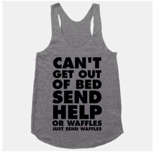 grey waffles tank top bedding sleepwear funny funny t-shirt food nightwear