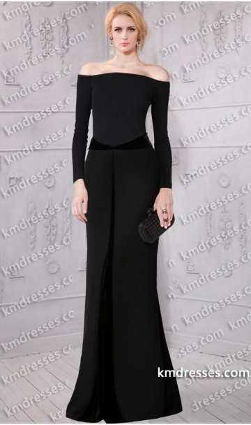 Fabulous off the shoulder long sleeves velvet paneling jersey gown inspired by selena gomez