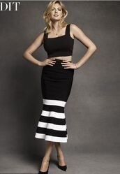 skirt,midi skirt,top,crop tops,black and white,kate upton,editorial