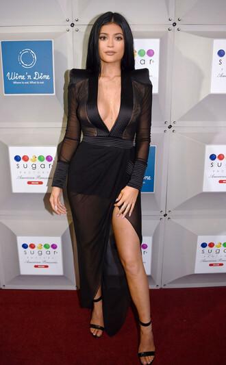 dress sheer kylie jenner black dress little black dress chic kardashians kendall and kylie jenner jewels