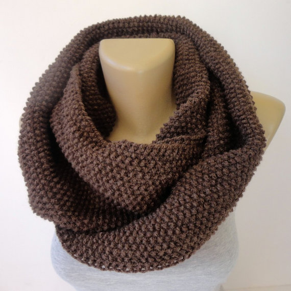 brown infinity scarf  unisex scarf winter by senoAccessory on Etsy