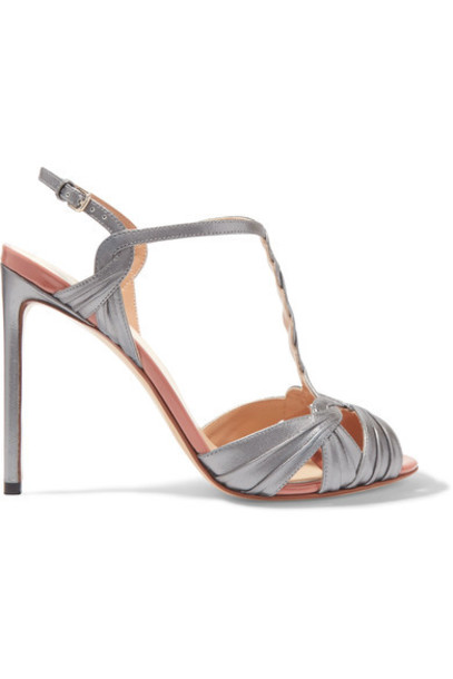 Francesco Russo metallic sandals leather sandals leather shoes