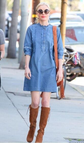 dress denim dress boots sunglasses spring dress kate bosworth