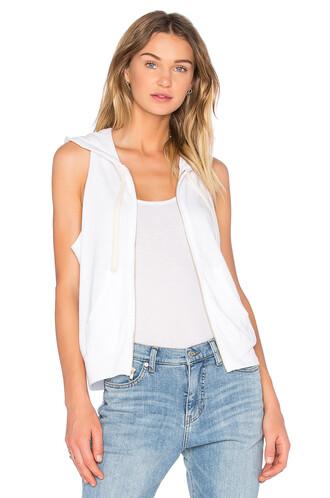 hoodie sleeveless white