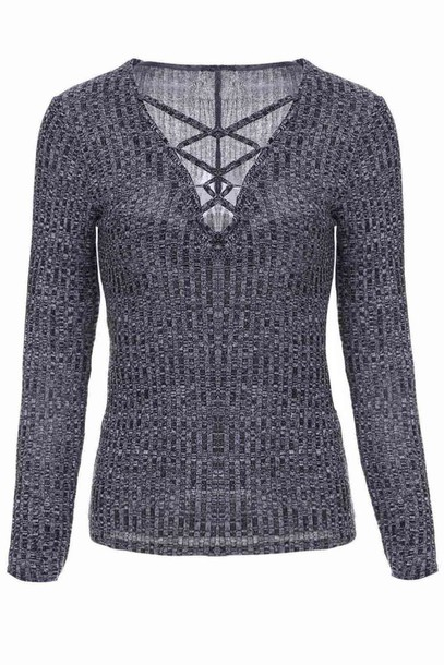 top grey fashion style trendy cool casual criss cross long sleeves zaful