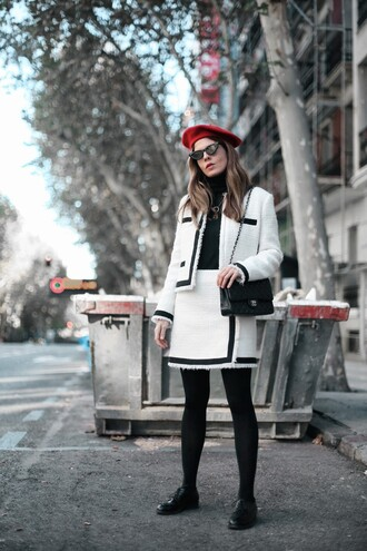 socks tumblr mini skirt white skirt wrap skirt matching set top black top turtleneck beret jacket white jacket shoes black shoes sunglasses
