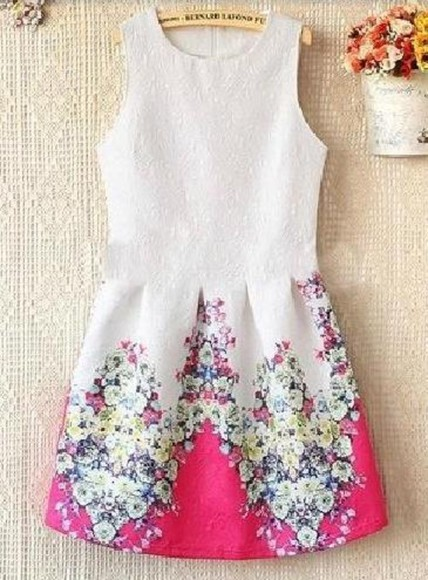 flowers floral pink fashion summer spring white dress cute girly floral dress