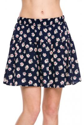 Cutesy Daisy Floral Print Skater Skirt in Navy | Sincerely Sweet Boutique