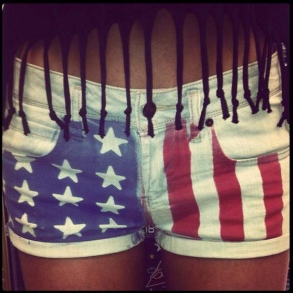 Shorts: white, red, blue, american flag, shirt - Wheretoget