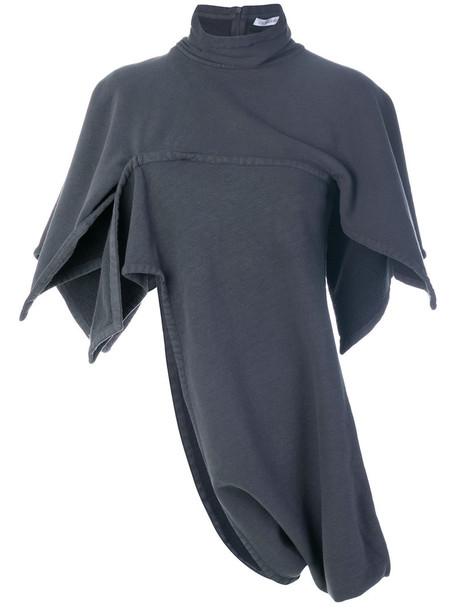 J.W.Anderson - short-sleeved asymmetric sweater - women - Cotton/Spandex/Elastane - 8, Grey, Cotton/Spandex/Elastane