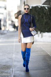 skirt,nyfw 2017,fashion week 2017,fashion week,silver,silver skirt,metallic,metallic skirt,top,knitwear,knitted top,one shoulder,turtleneck,blue top,boots,blue boots,over the knee boots,over the knee,velvet,velvet shoes,velvet boots,velvet over the knee boots,sunglasses,bag,00s style