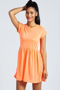 Tina Turn Back Neon Skater Dress at boohoo.com