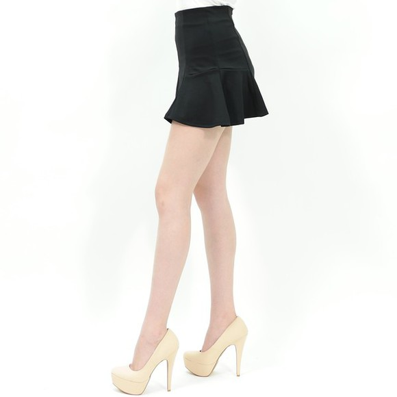 skirt mini skirt peplum peplum skirt skater skirt black