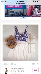 top,blue white crop top cute,jewels,jewelry,bag,skirt,crop tops,hair bow,hair accessory,hair,shoes