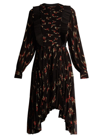 dress pleated dress pleated floral print black red