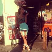 skirt,draya michele,bustier,clothes,shopping,mint skirt,bodycon skirt,pencil skirt,mesh panel,fine ass girls,dress