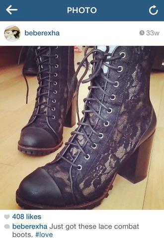 black lace combat boots boots lace up boots floral lace bebe rexha lace-up shoes