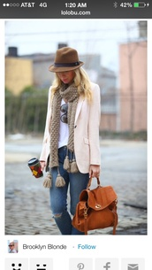 bag,classic,hat,blouse,jacket,jeans,shirt,leather bag,blazer,felt hat