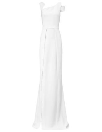 gown slit white dress