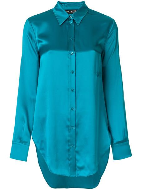 Twin-Set shirt women pearl blue silk top