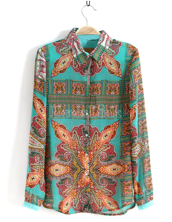 Chiffon Print Lapel Long Sleeve Shirt Tops Blouse