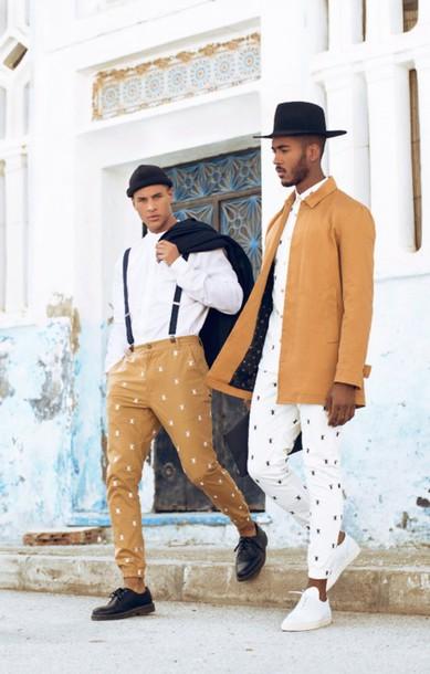socks menswear fashion inspiration smart casual brogue shoes camel hipster menswear mens fedora shirt pants jacket