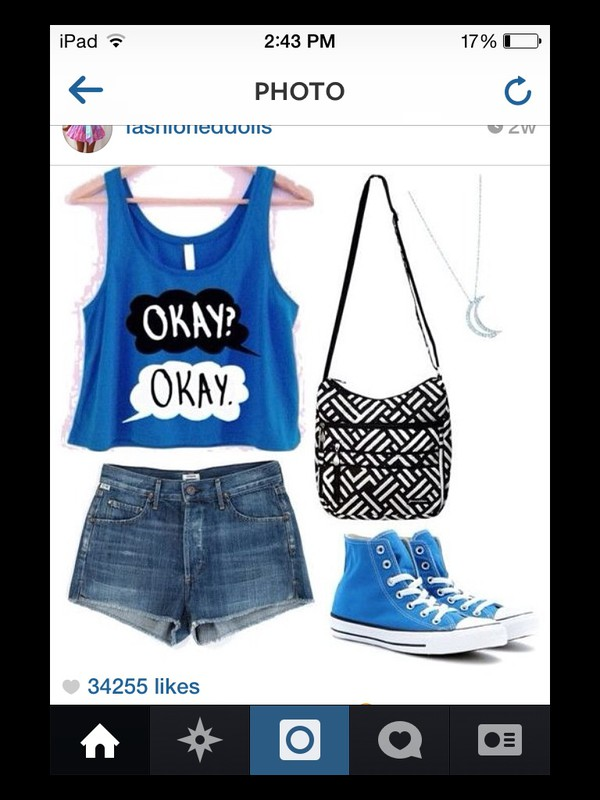 tank top fios the fault in our stars okay? okay blue shirt bag t-shirt shoes handbag shorts jewels shirt blue okay. okay?