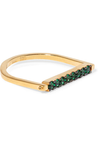 ring gold green jewels