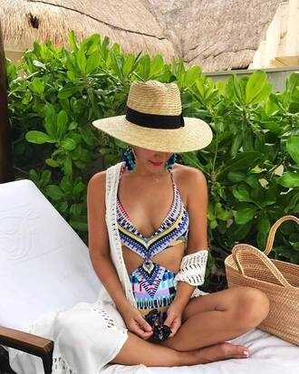 swimwear hat one piece swimsuit earrings accessories accessory jewels jewelry sun hat cover up carrie bradshaw blogger