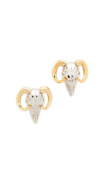 Alexis Bittar Horned Ram Stud Earrings - Silver/Gold