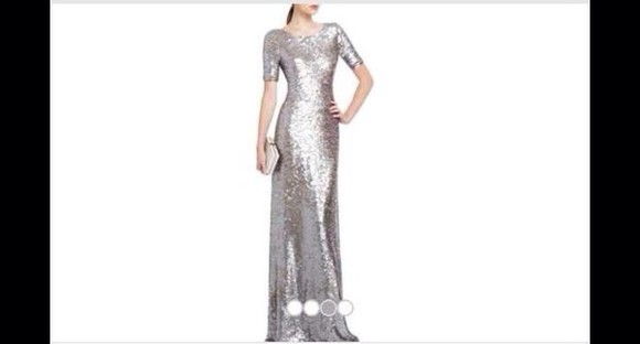 silver sparkly ball gown long length short sleeves silver sequin short sleeved dress