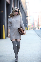 brooklyn blonde,blogger,sunglasses,sweater dress,knee high boots,suede boots,brown bag,winter outfits,grey knit dress,mini knit dress,knitted dress,knitwear,black sunglasses