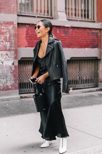 dress maxi dress jacket leather jacket black leather jacket white boots black dress slip dress black jacket boots