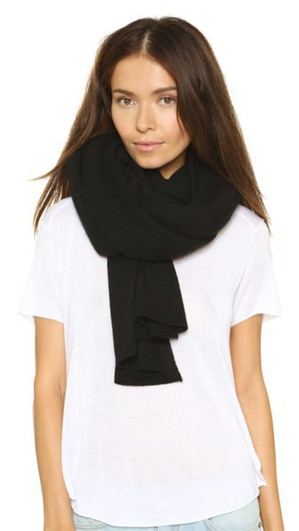 White + Warren White + Warren Cashmere Travel Wrap Scarf - Black
