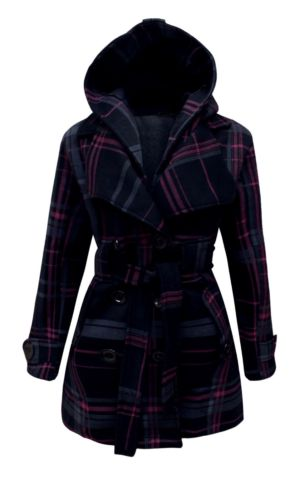 NEW LADIES BELTED BUTTON MILITARY CHECK COAT WOMENS HOODED WINTER JACKET 8-20 | eBay