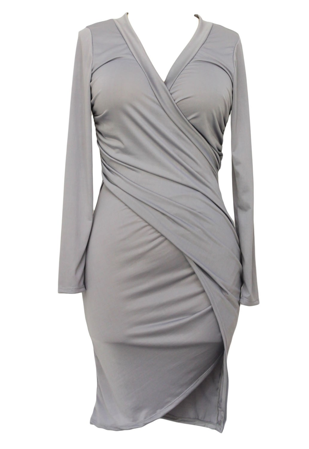 Sodraya grey deep v neck draped bodycon dress