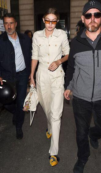 shoes jumpsuit paris fashion week 2017 pants shirt gigi hadid model off-duty streetstyle