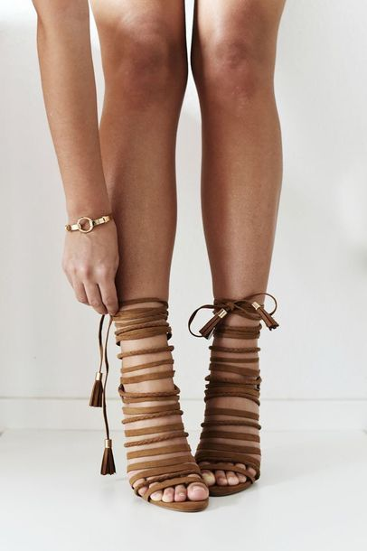 Shoes: heels brown strappy tan straps strappy heels lace up