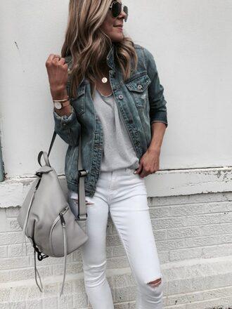t-shirt oversized tee denim jacket white sjinny jeans backpack leather backpack blogger blogger style
