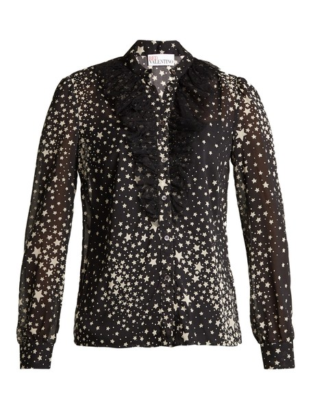REDValentino blouse print silk white black top