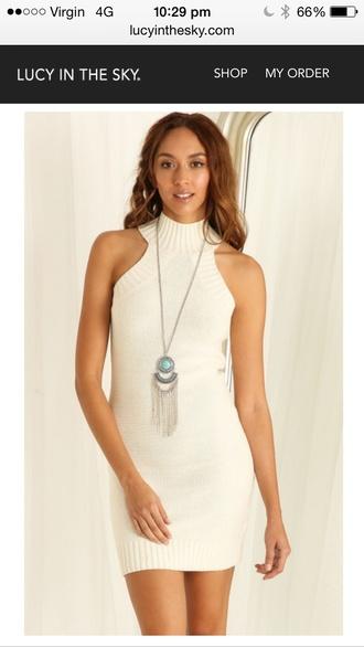 dress white knit bodycon high neck