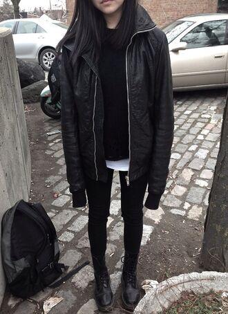 jacket black leather grunge punk punk rock is good for you tunblr tumblr jacket tumblr outfit raincoat